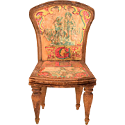 """Antique Bliss Dollhouse Lithographed ABC Chair - Letters G and L Early 1900s Large 1"""" Scale"""