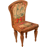 """Antique Bliss Dollhouse Lithographed ABC Chair - Letters H and M Early 1900s Large 1"""" Scale"""