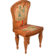 """Antique Bliss Dollhouse Lithographed ABC Chair - Letters J and O Early 1900s Large 1"""" Scale"""