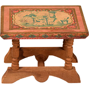 """Antique Bliss Dollhouse Lithographed Table - From the ABC Set 1900s 1"""" Scale"""