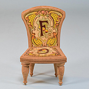 "Antique Bliss Dollhouse Lithographed ABC Chair - Letters F & G Late 1800s Large 1"" Scale"