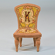 "Antique Bliss Dollhouse Lithographed ABC Chair - Letters K & J Late 1800s Large 1"" Scale"