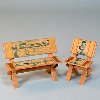 "Antique Dollhouse Lithographed Bench and Chair Late 1800s to Early 1900s Large 1"" Scale"