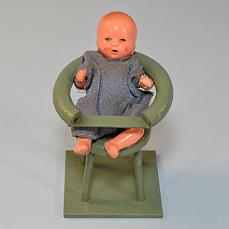 "German Dollhouse Nursery High Chair with Bisque Hertwig Baby 1920s – 1930s Large 1"" Scale"