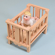 "German Dollhouse Wooden Crib with All Bisque Bathing Doll 1920s Small 1"" Scale"
