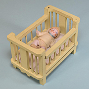 """Dollhouse Wooden Crib with German Hertwig Baby 1920s 1"""" Scale"""
