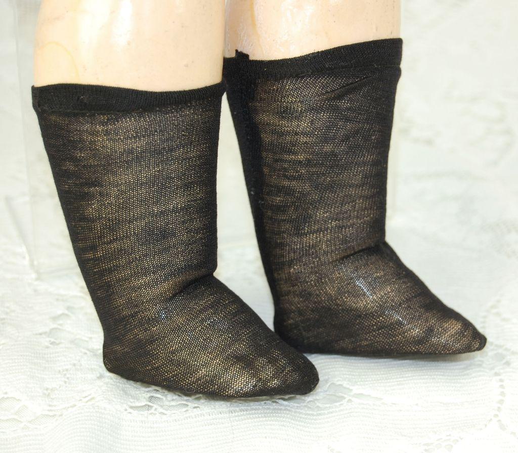 Antique fine knit black doll socks  2 1/4 inch foot