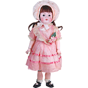 Antique doll Kestner 214 German JDK  bisque head doll Kestner ball jointed composition body brown eyes brunette HH wig pink dress  25 inch