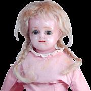 "Antique wax over mache doll brown sleep eyes TLC 14"""