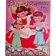 Uncut 1951 Polly & her Playmates 4 paper dolls  and clothes 8 sheet