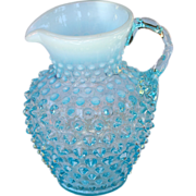 Fenton ice blue opalescence hobnail small syrup pitcher 5.5""