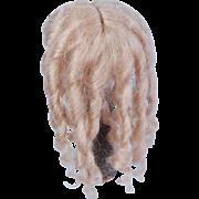"Mohair doll wig ash blonde long ringlets 7"""