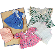 Group vintage small doll dresses and blanket