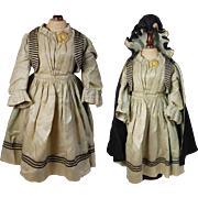 "19th C. Doll dress & hooded cloak aqua black velvet ribbon trim and celluloid mourning pin back button 18.5"" L"