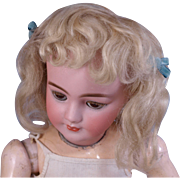 "Antique light blonde mohair doll wig center hair medallion and short curly bangs    11-12"" circ."