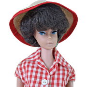 Vintage Brunette Bubble Cut Barbie Mattel Midge Barbie body wearing partial #967 Picnic Set  jeans checked blouse and hat