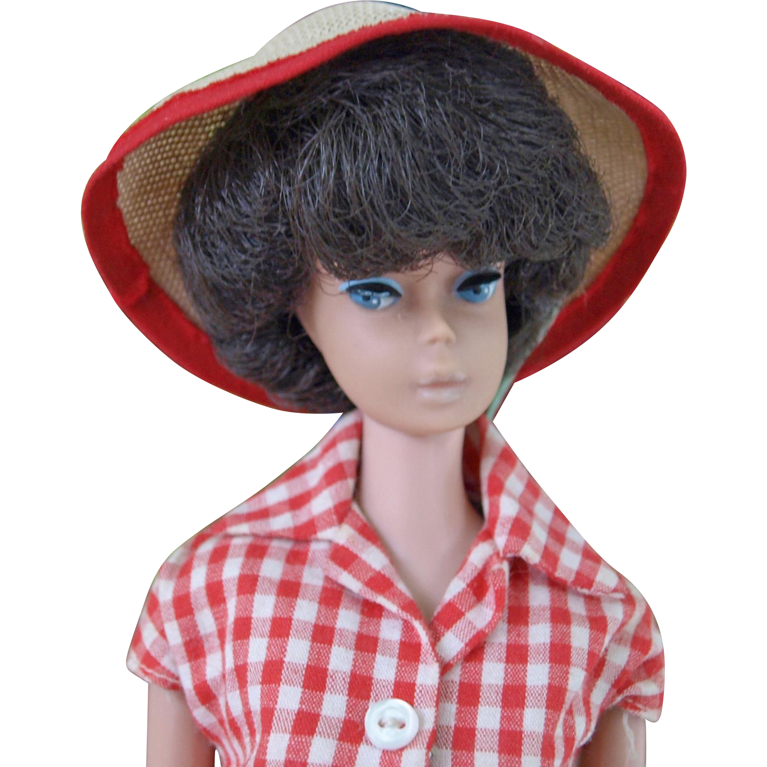 Vintage Brunette Bubble Cut Barbie Mattel Midge Barbie body wearing partial #967 Picnic Set  jeans checked blouse and hat
