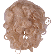 Mohair doll wig honey blonde lush long curls 6 inch head circ.