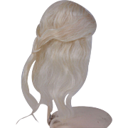 Replacement mohair doll wig long and wispy white blonde 5 1/2 head circ.