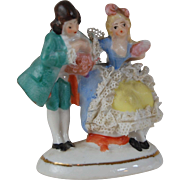 Vintage Dresden lace miniature porcelain dollhouse figurine courting couple Germany 2341 or 7341