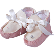 Vintage leather baby shoes pink and cream baby doll moccasin booties large mama dolls
