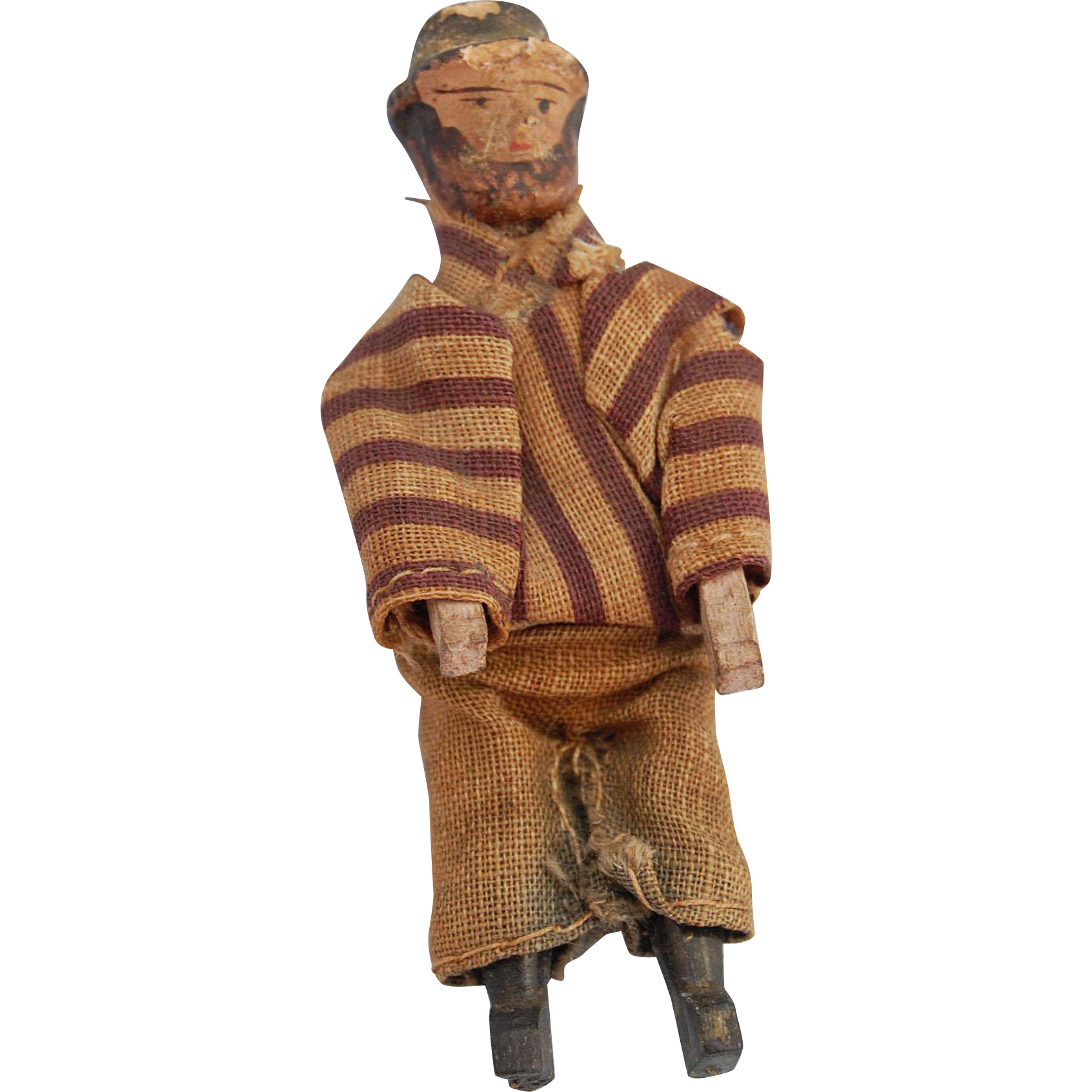 Vintage tiny jointed Erzgebirge bearded man German carved wood and painted dollhouse figure  2 3/4 inch