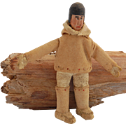 Vintage miniature Eskimo Inuit doll figure carved wood head Made in Labrador  3 3/8 inch