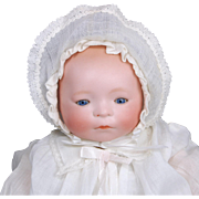 Amberg New Born Babe bisque head baby doll  L A & S working crier good celluloid hands blue sleep eyes 11 inch