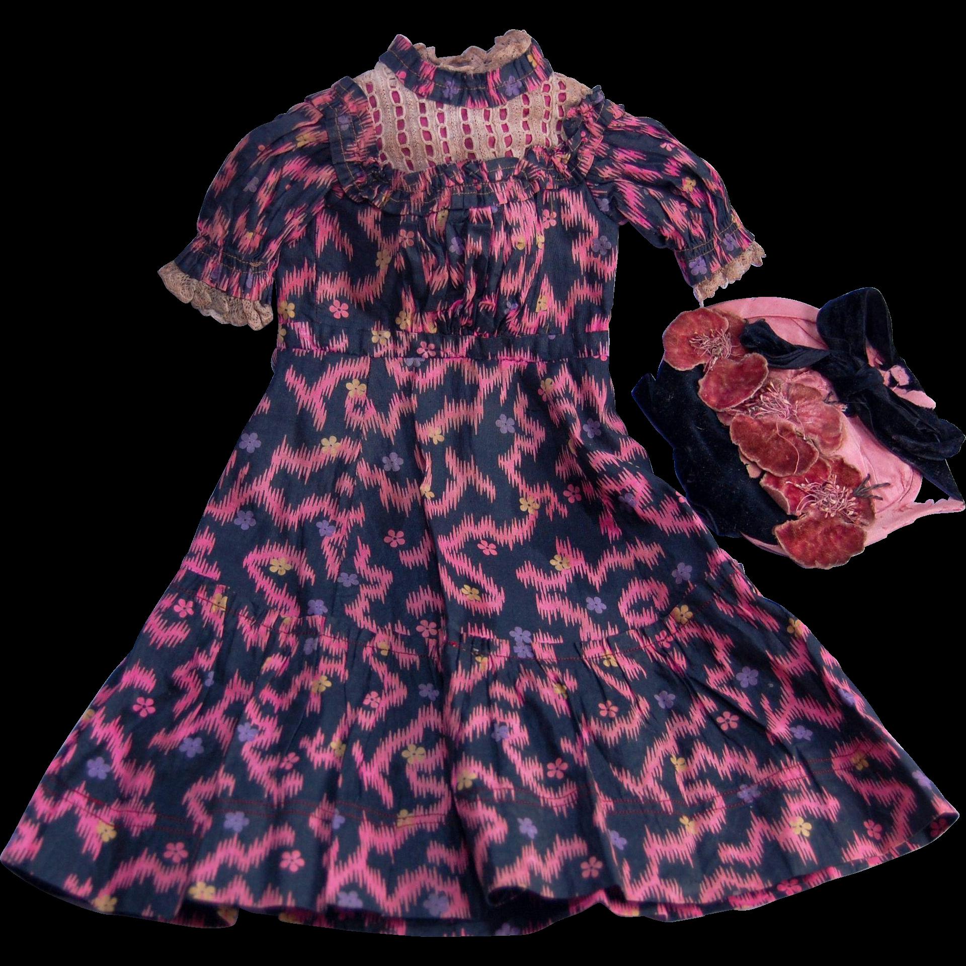 Antique doll dress and bonnet for shoulderhead china bisque papier mache dolls  pink and florals on black material TLC