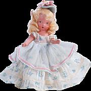 Nancy Ann Storybook all bisque doll NASB blonde blue floral dress blue felt bonnet