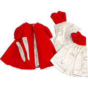 Vintage Barbie Red Flare or Silken Flame coat, tricot long gloves and two red white dresses