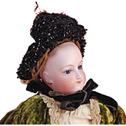 Antique beaded and wired black net lace doll bonnet French fashion black jet beads