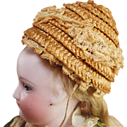 Antique beehive doll bonnet for French fashion doll woven straw lined with lace trim