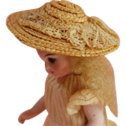 Antique miniature woven straw doll bonnet for mignonette all bisque dolls lace bow trim  2 1/8 inch  excellent condition