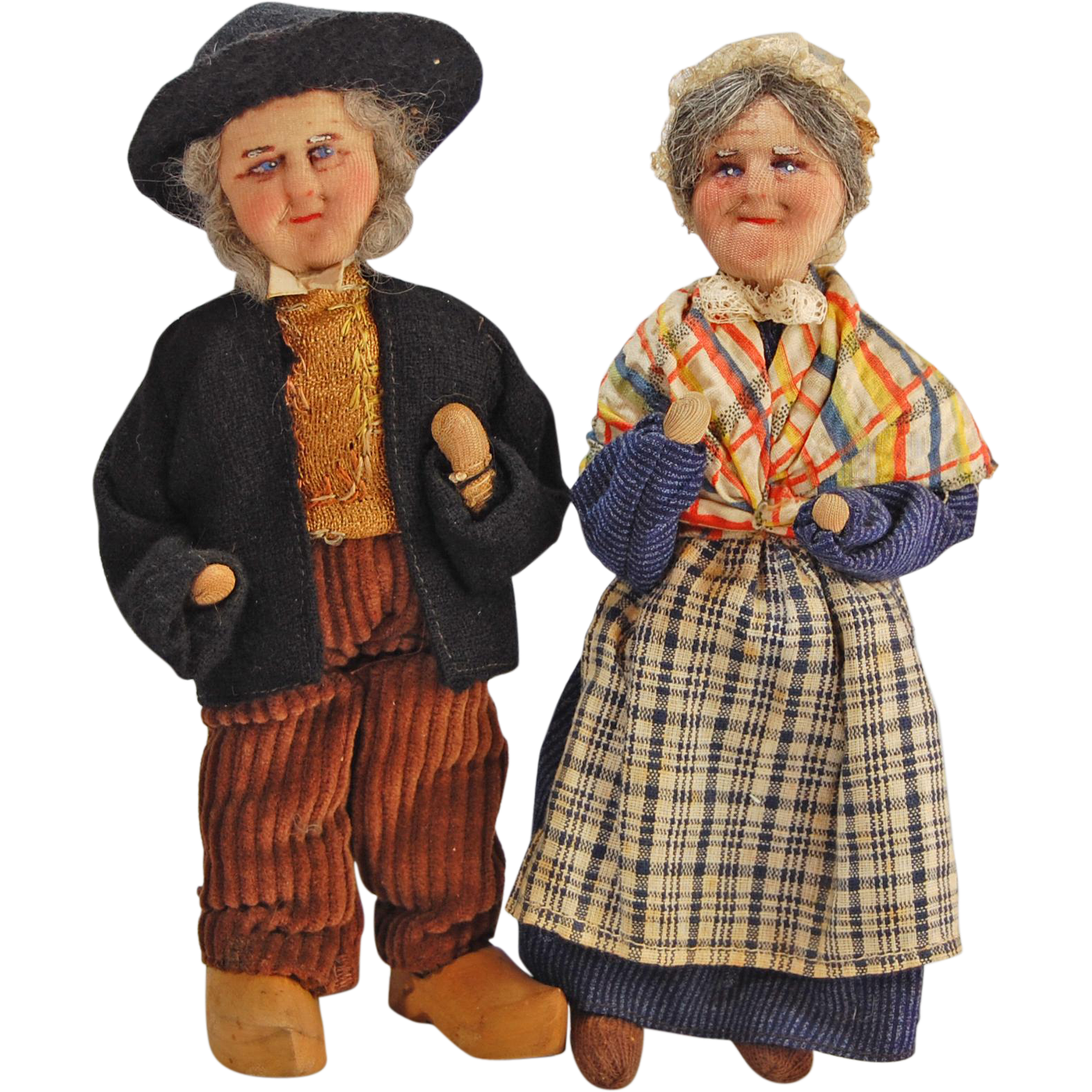 Vintage Bernard Ravca French stockinette cloth dolls pair man and woman   7.5 inches
