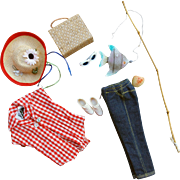 Vintage Barbie clothes and accessories Sweet Dreams wax apple, Picnic set clothes hat fishing pole and fish, basket