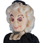 Vintage stockinette dowager lady doll handpainted needle sculpture cloth  10 inch