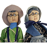Pair of vintage well made soft sculpture folk art cloth dolls grandparents wire eyeglasses 10 inch