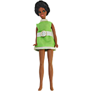 Vintage Dale Dawn Topper black doll twist waist green side glance eyes lime green shift dress no shoes Hong Kong  6.5 inch H83 1970