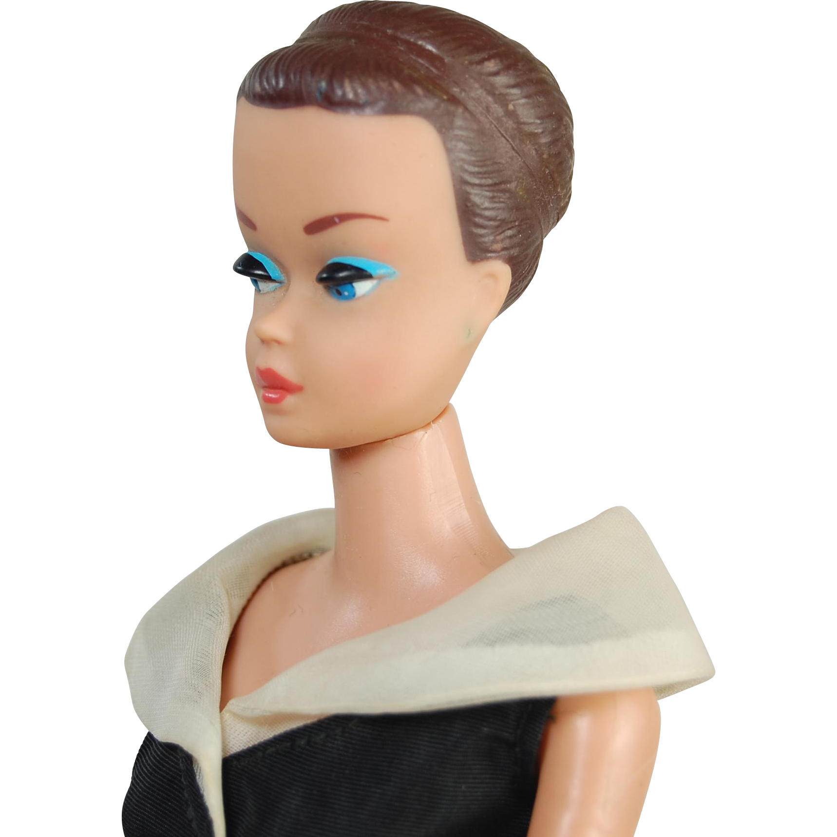 Vintage Fashion Queen Barbie After Five dress brown painted hair no wig 1964 patented body good paint