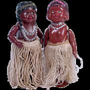 Celluloid windup Hula Dancers native Hawaiian 2 dolls Occupied Japan 6 inches
