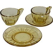 Akro Agate Playtime 1050 Topaz one place setting plus extra tea cup children's and doll's dishes small interior panel