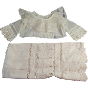 Vintage lacy dress bodice and eyelet skirt hem remnants for doll clothes