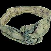Antique doll's silk belt sash blue navy mini hearts and fleur de lis print  12 inch L.