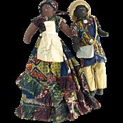 Vintage black cloth dolls Jamaican male female pair souvenir dolls Jamaica Rosie
