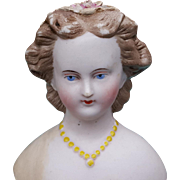 Countess Dagmar parian restored shoulder and flowers brown hair yellow necklace   3.75 inch
