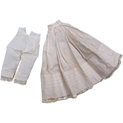 Vintage doll whites for small china and parian petticoat and drawers  4.75 waist  10 length hand sewn