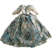 Tattered antique doll gown for pattern fabric fringe trim