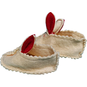 Vintage bunny slippers shoes for dolls white felt  2.5 inch foot