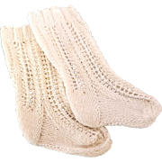 Vintage white lacy cable knit doll socks 2.5 inch foot 4 inch long